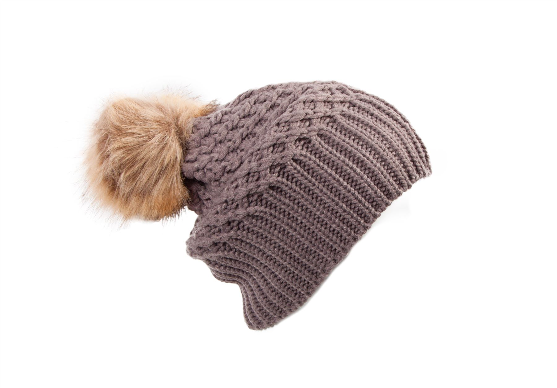 Baggy Bobble Hat Knitting Pattern : U444 LADIES BAGGY SLOUCH OVERSIZE FAKE FUR BOBBLE RIBBED KNITTED BEANIE SKI H...