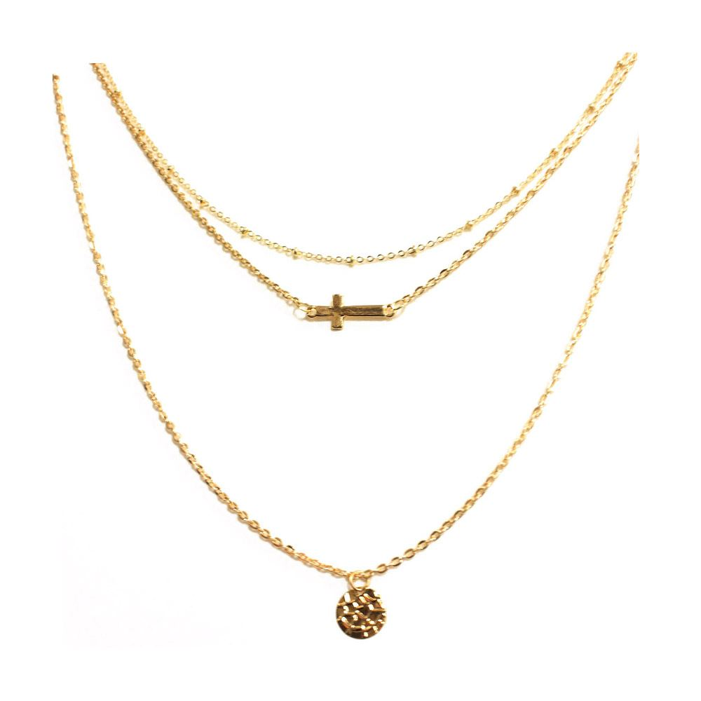 Celebrity Multi-Layers Cross Infinity Hamsahand Bead Charm Chain Necklace-