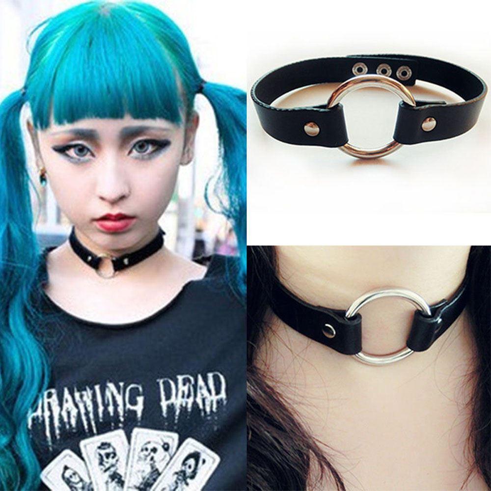 Black-Goth-Punk-Enchanting-Leather-Rivet-Heart-O-Ring-Choker-Collar-Necklace-UK