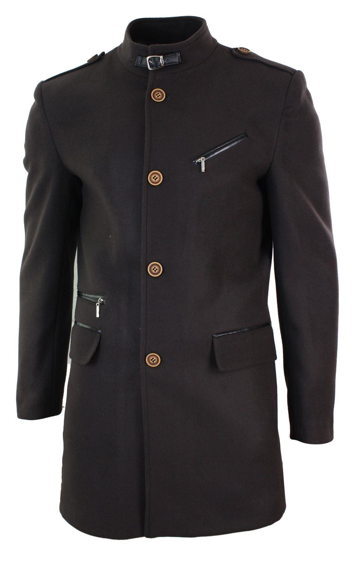 Dettagli su uomo slim fit lana 3 4 overcoat giacca stile militare alta