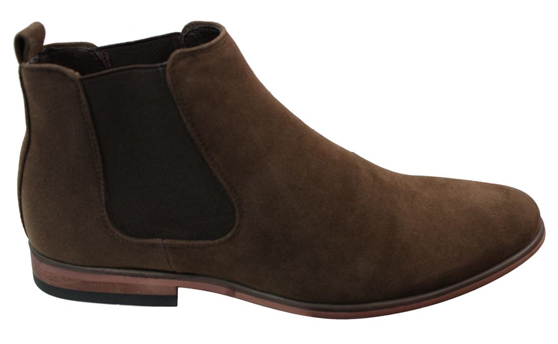 mens italian suede slip on ankle boots smart casual desert