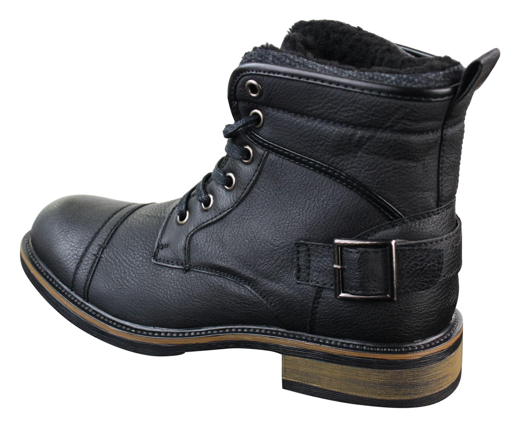 mens pu leather fleece lace ankle combat buckle