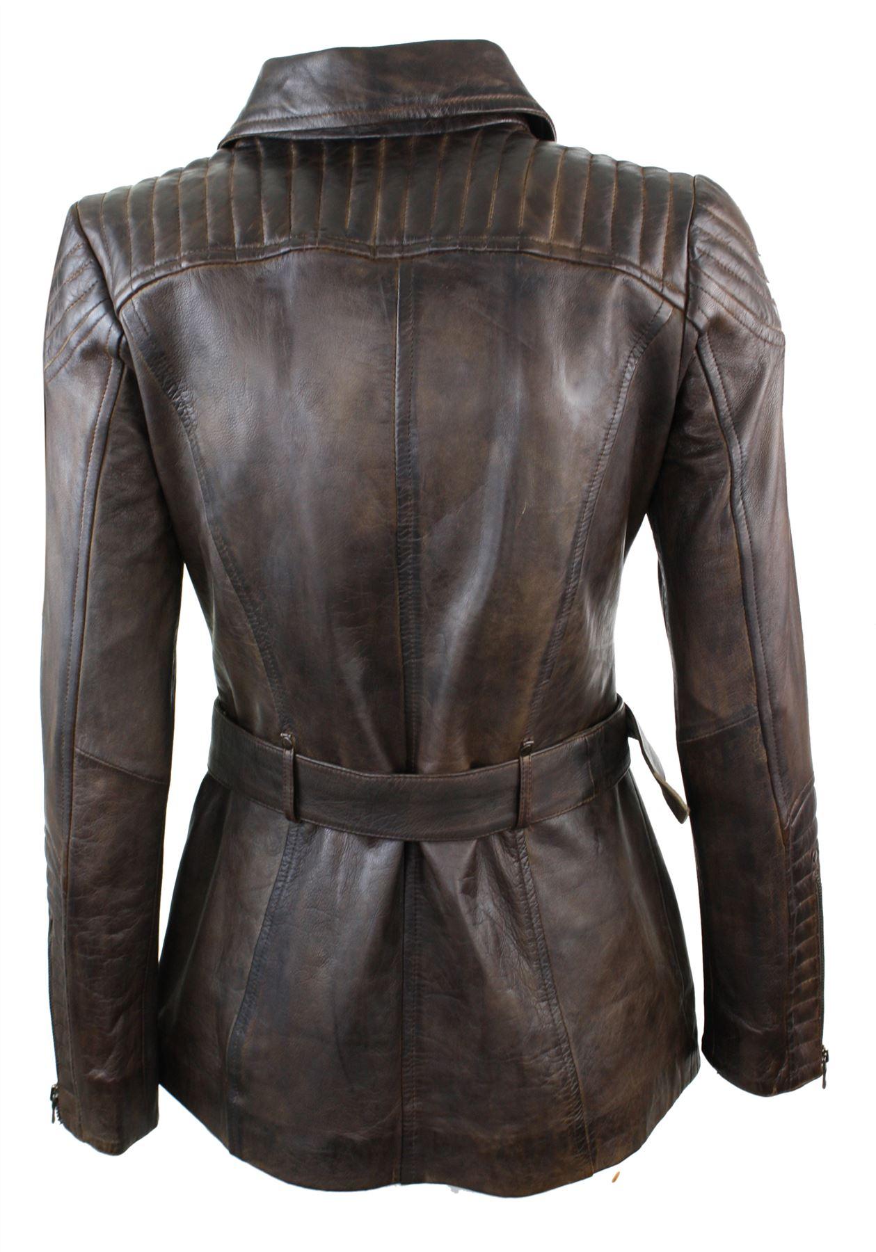 ladies women brown slim fit real leather jacket winter coat