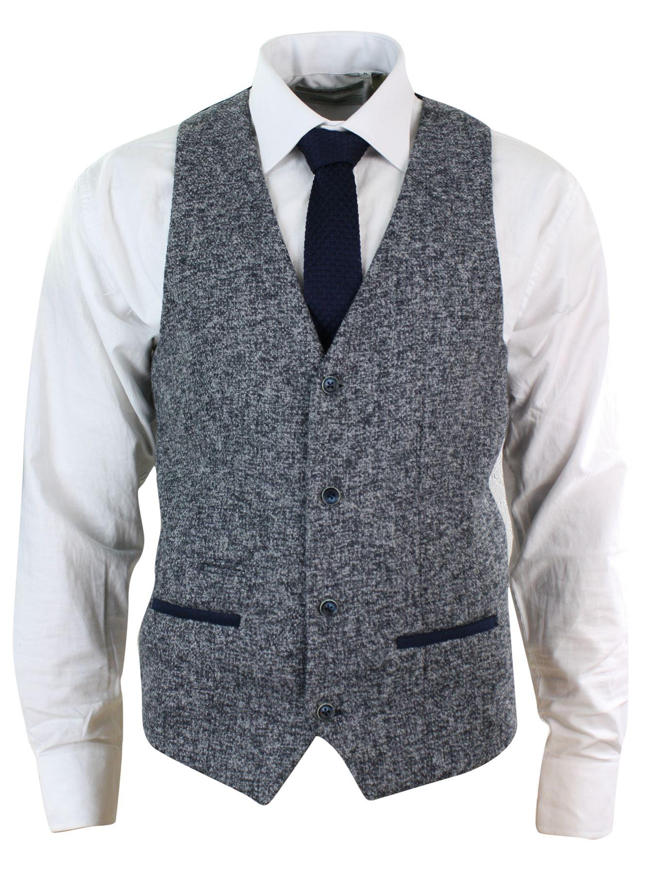 veste ou gilet homme tweed gris bleu coupe cintr e tissu pais chic d contract ebay. Black Bedroom Furniture Sets. Home Design Ideas