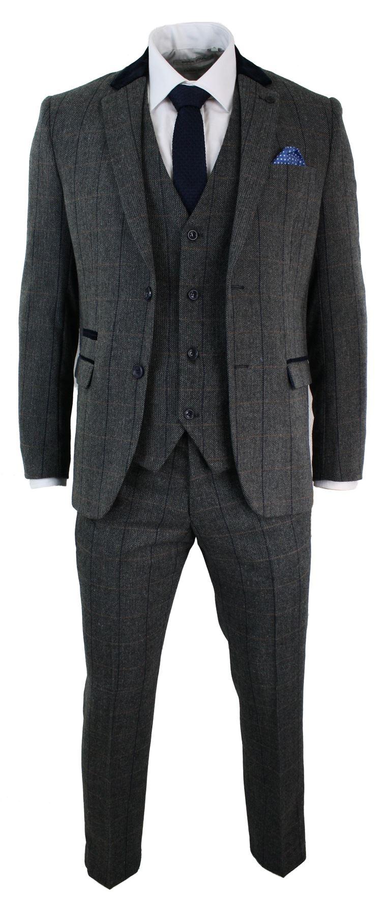 costume 3 pi ces homme tweed chevrons gris anthracite coupe ceintr e vintage ebay. Black Bedroom Furniture Sets. Home Design Ideas