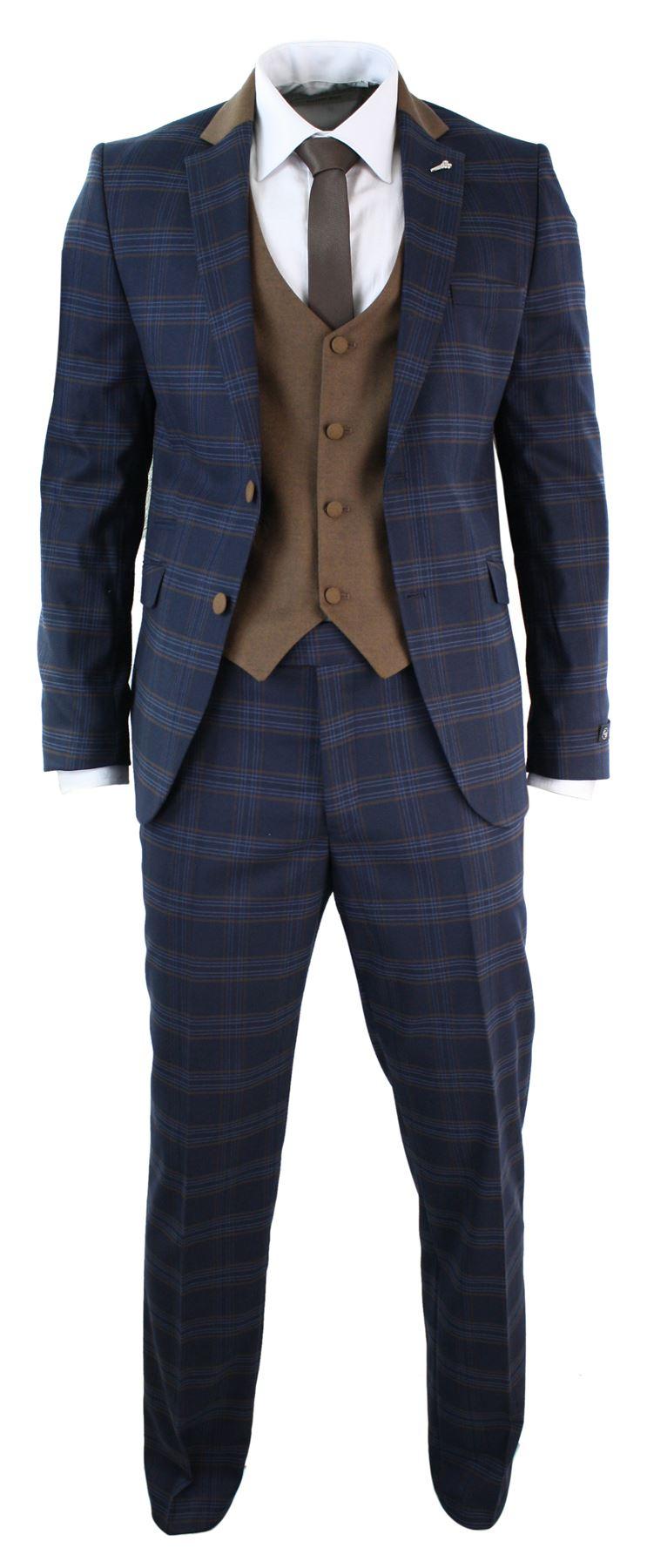 Mens 3 Piece Tweed Check Navy Blue 3 Piece Suit Slim Fit Retro ...