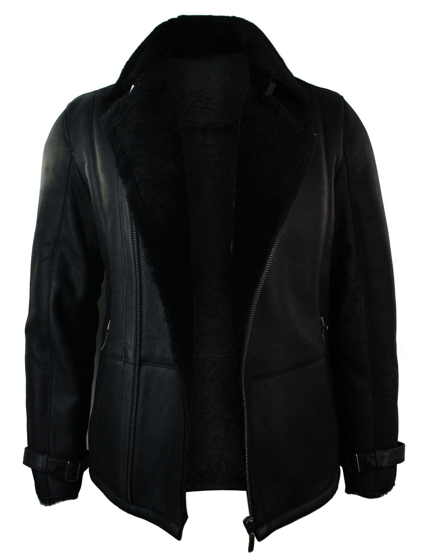 manteau cuir hommes cuir v ritable noir col en fourrure ebay. Black Bedroom Furniture Sets. Home Design Ideas