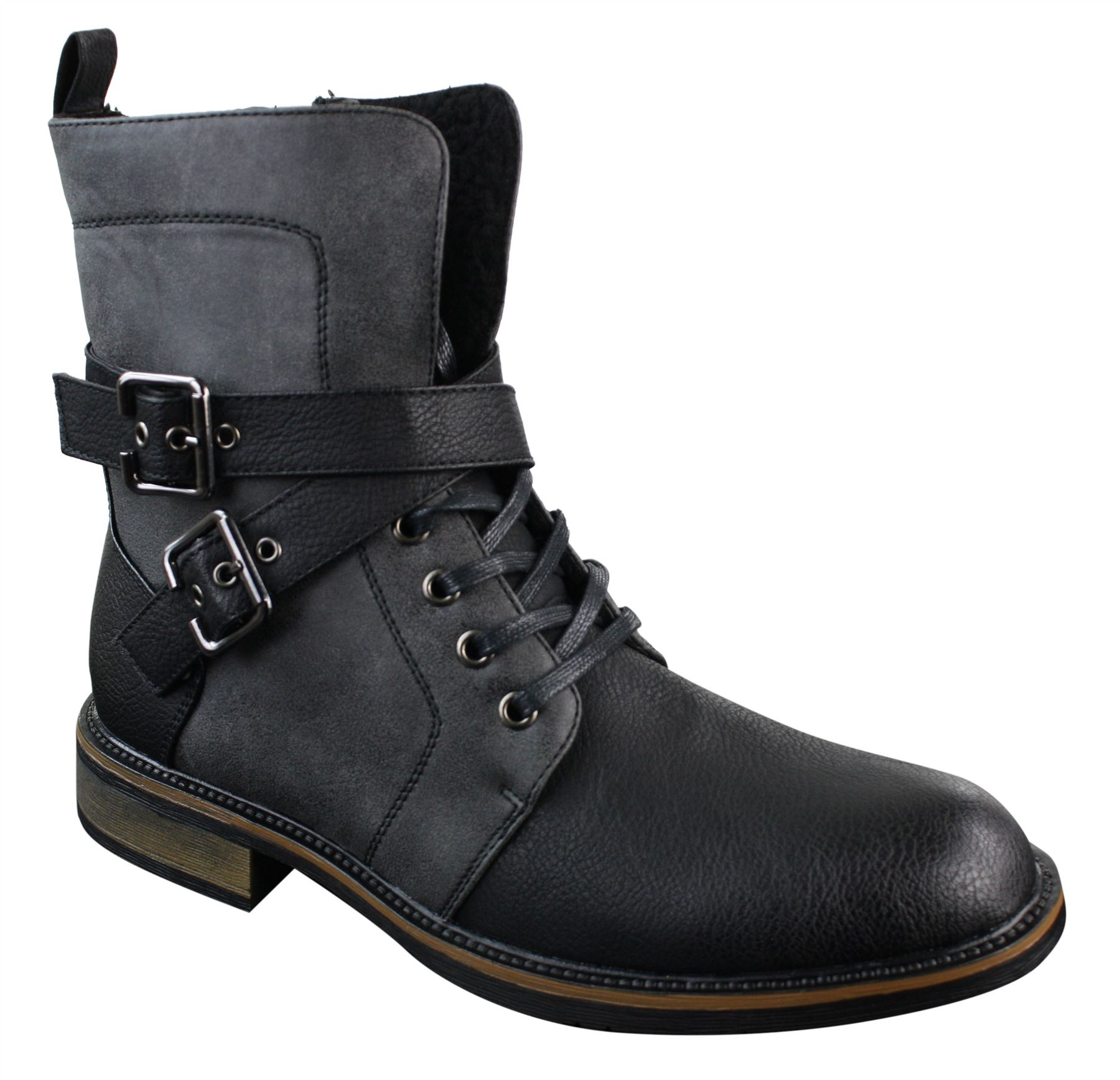 mens rock elmo biker ankle boots leather buckle