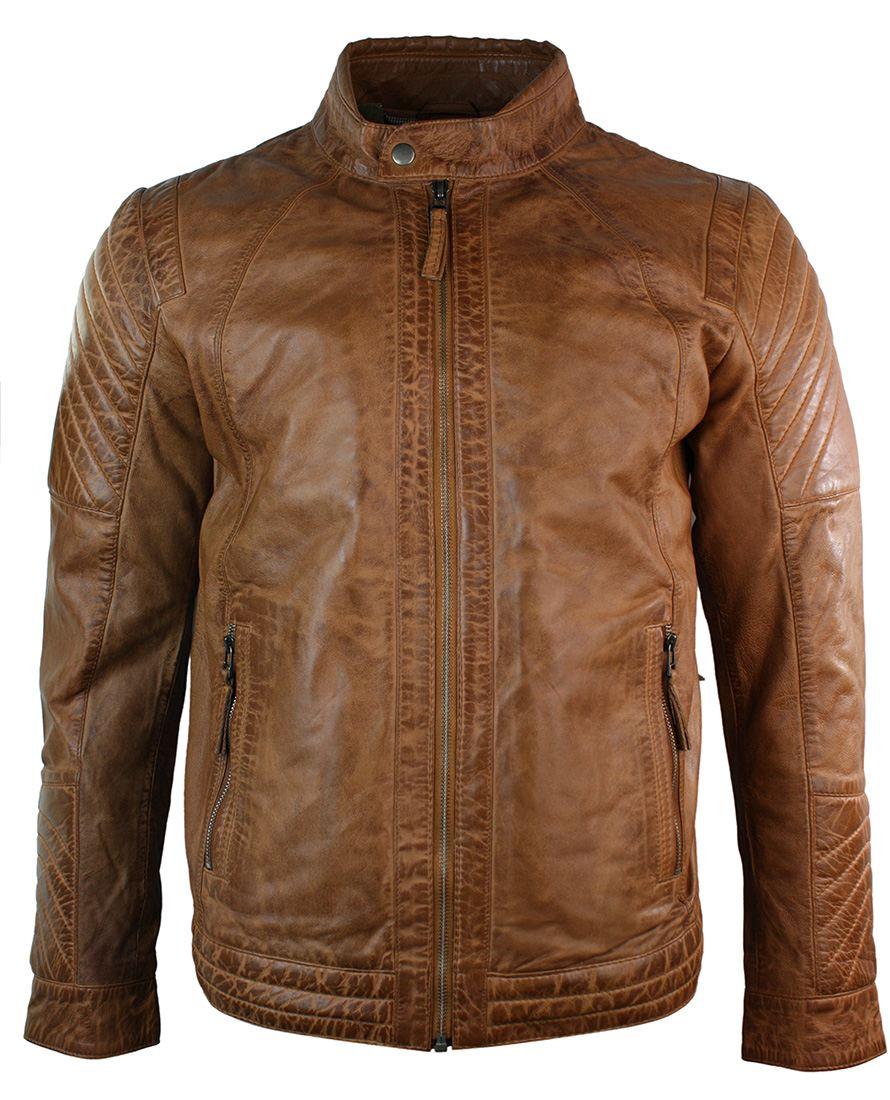 veste cuir marron hommes coutures design style retro vintage ebay. Black Bedroom Furniture Sets. Home Design Ideas
