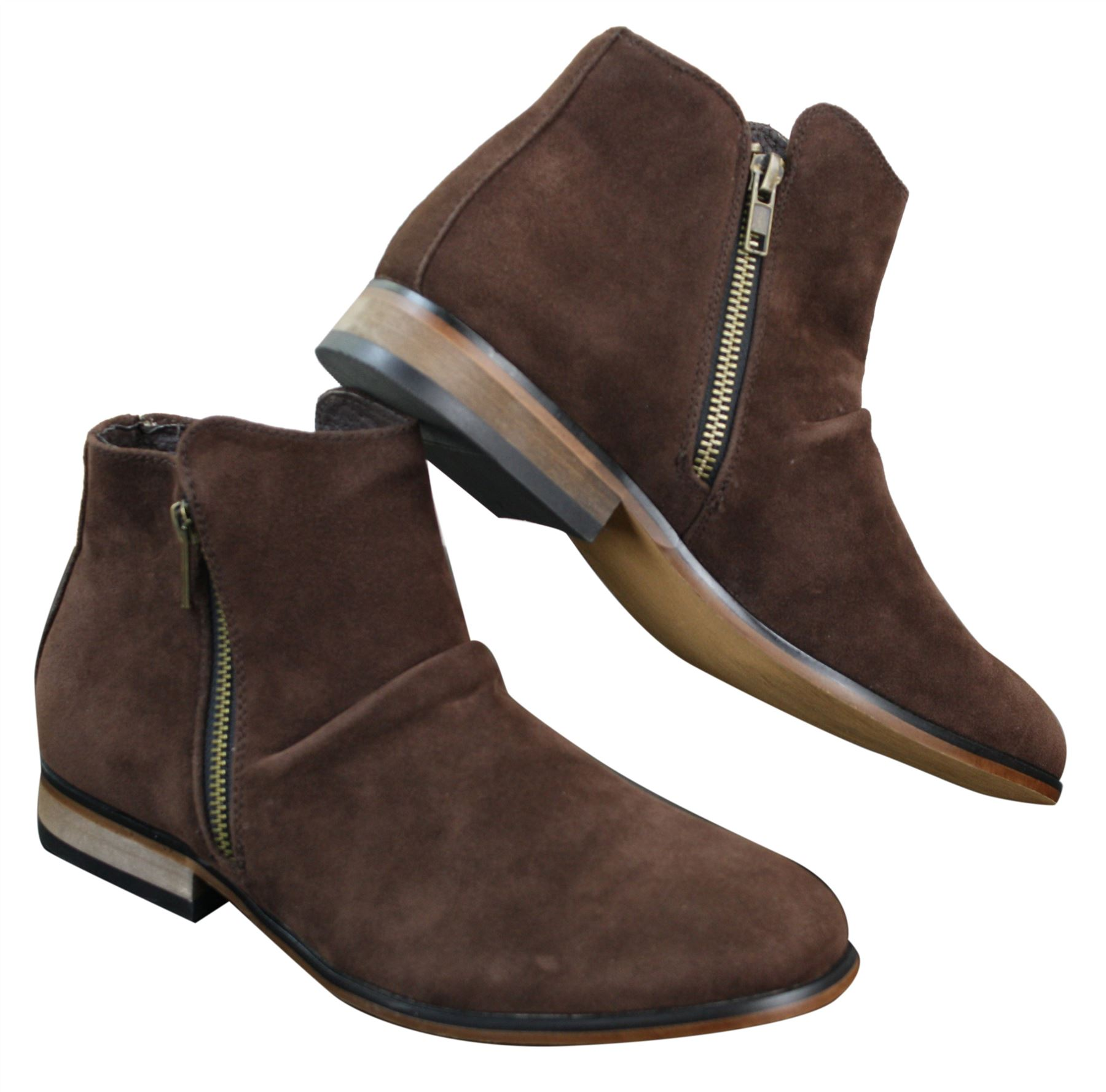 mens italian suede slip on zip ankle boots smart casual