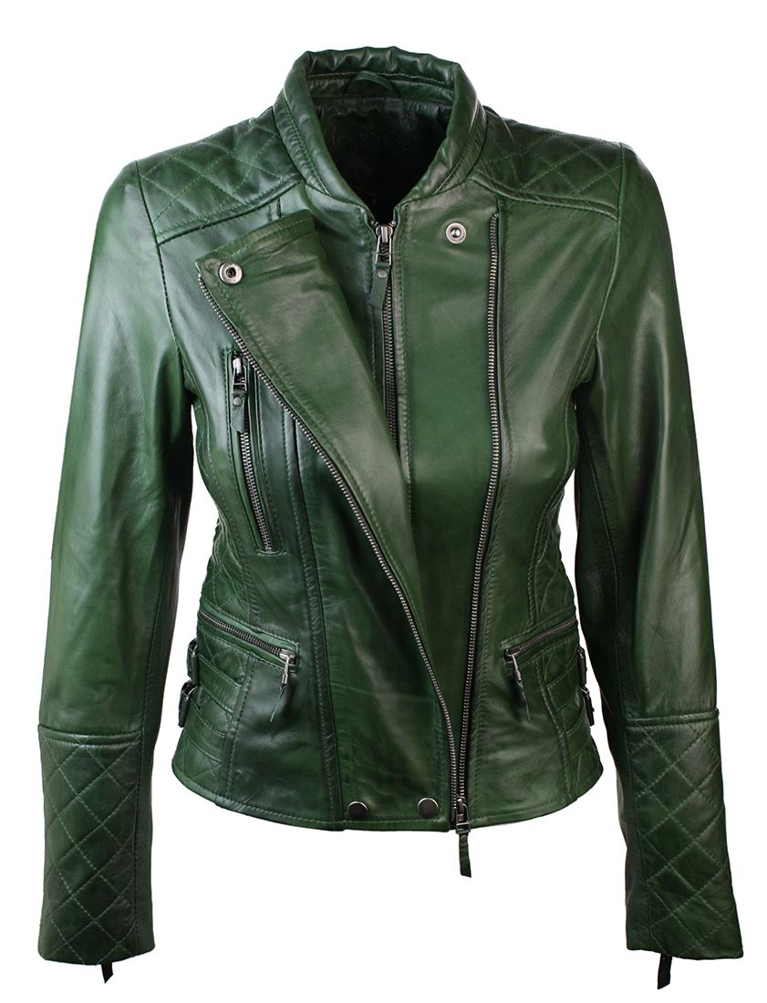 veste femmes cuir verte design zip vintage coupe slim ebay. Black Bedroom Furniture Sets. Home Design Ideas