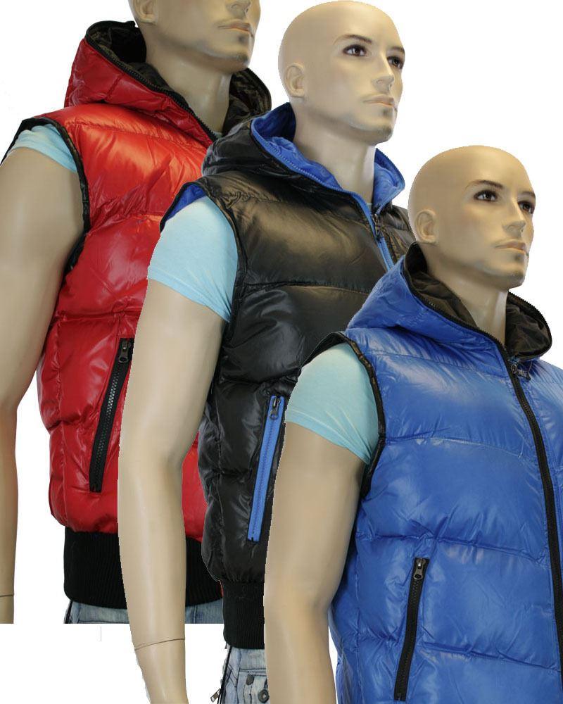 gilet homme doudoune capuche corps chaud et color zipp bleu noir rouge - Doudoune Colore