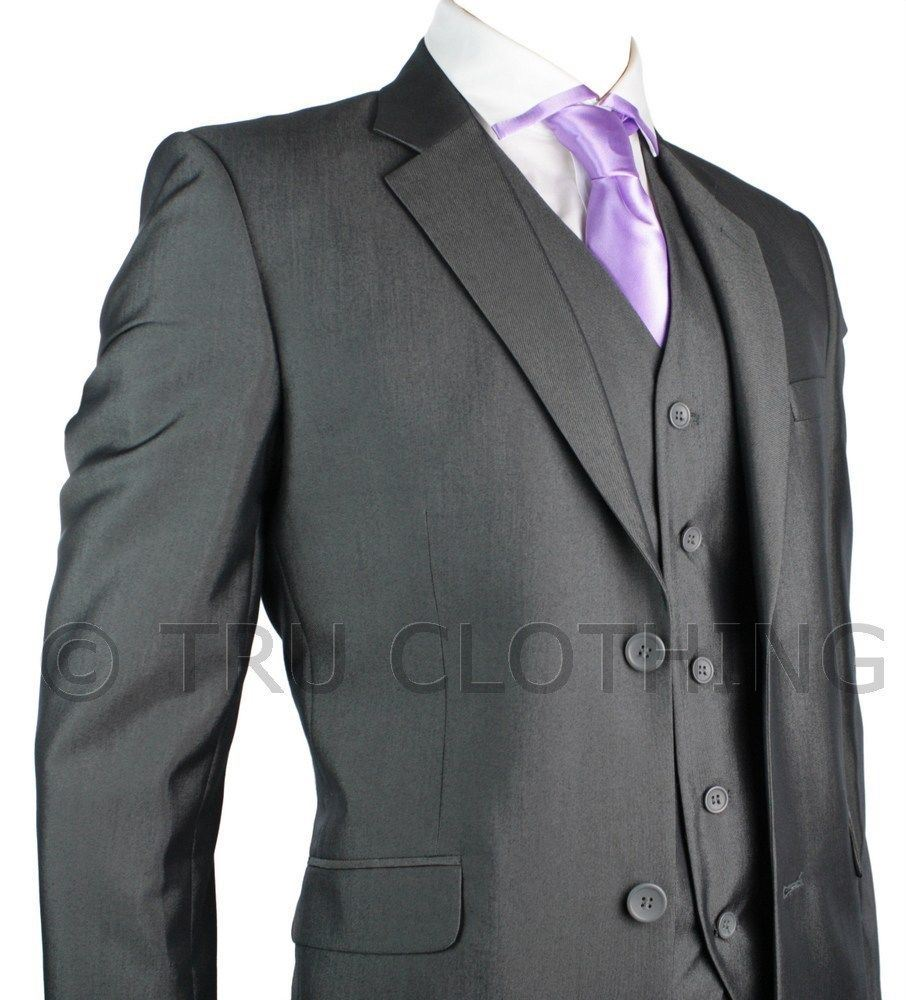 costume homme travail mariage gris fonc argent 3 pices courtlong re - Costume Mariage Homme Armand Thiery