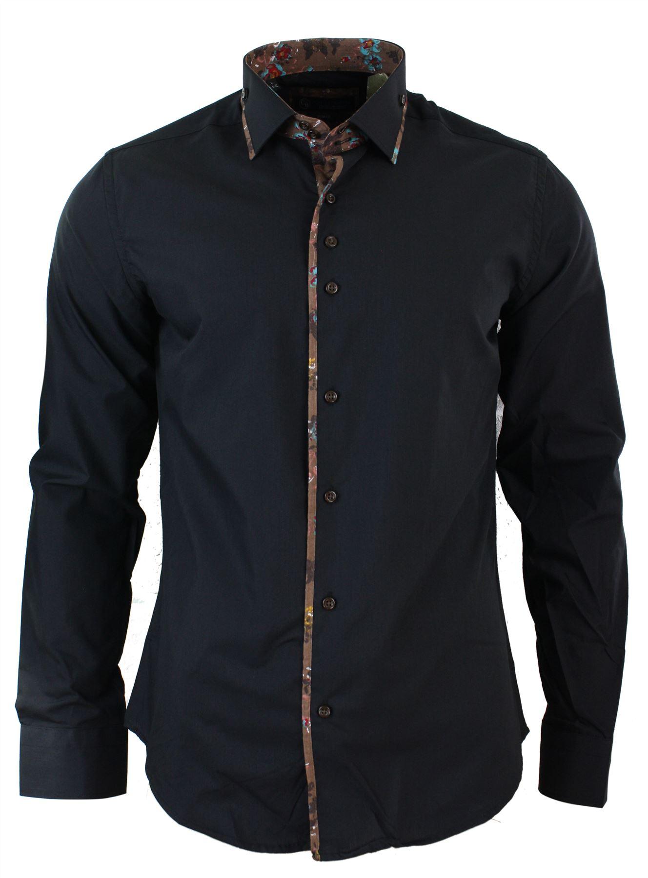 Mens Slim Fit Designer Italian Button Collar Shirt Paisley ...