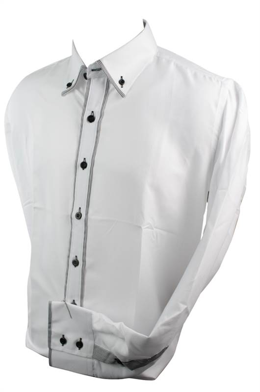 Mens Italian Button Collar Shirt White Black Trim Slim Fit Smart ...