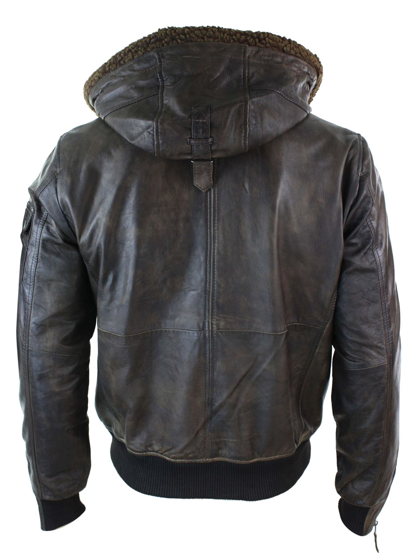 Mens brown leather jacket with hood