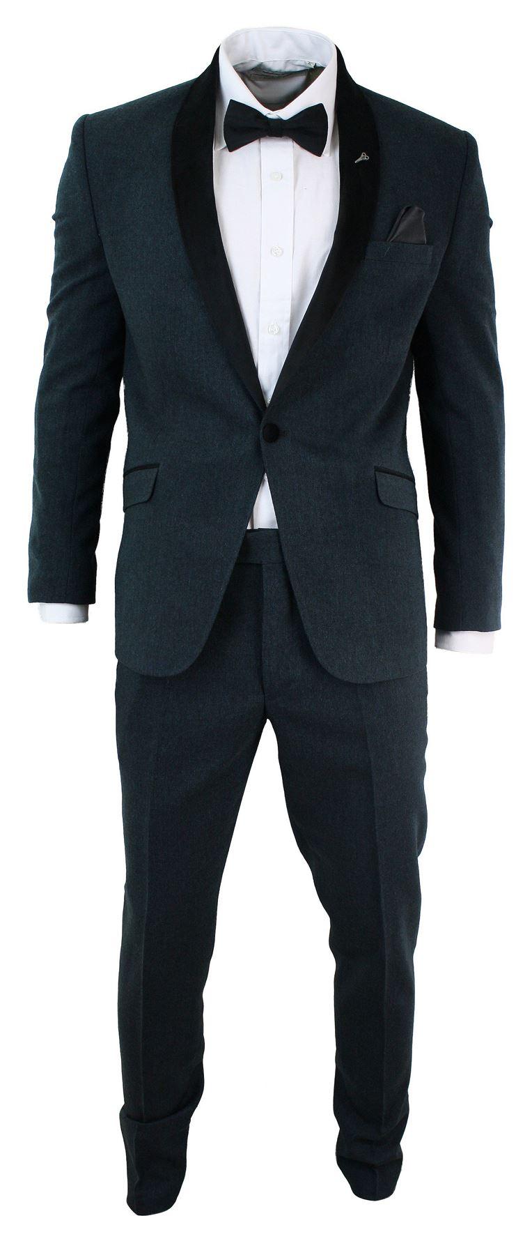 costume hommes 3 pi ces bleu fonc slim 1 bouton col et coudes en velours noir ebay. Black Bedroom Furniture Sets. Home Design Ideas
