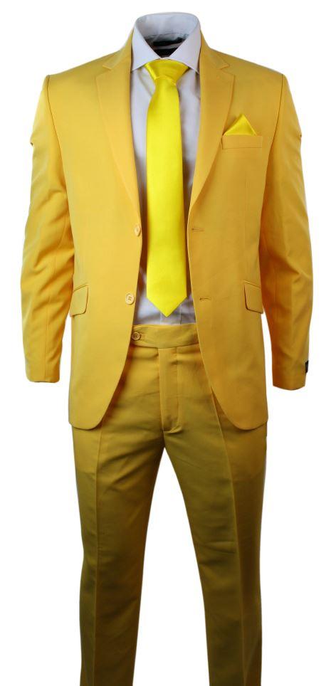 Hommes Jaune Costume Blazer Cravate Pantalon Et Hankie De Bal Sur Mesure Fit Ebay