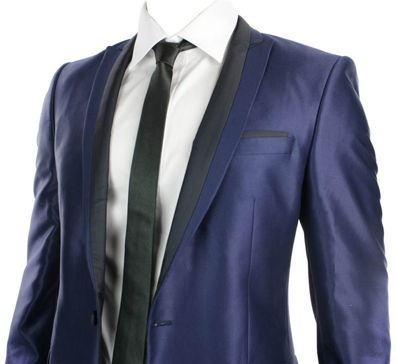 Mens Shiny Slim Fit Wedding Party Suit Blue Black Trim 1 Button ...