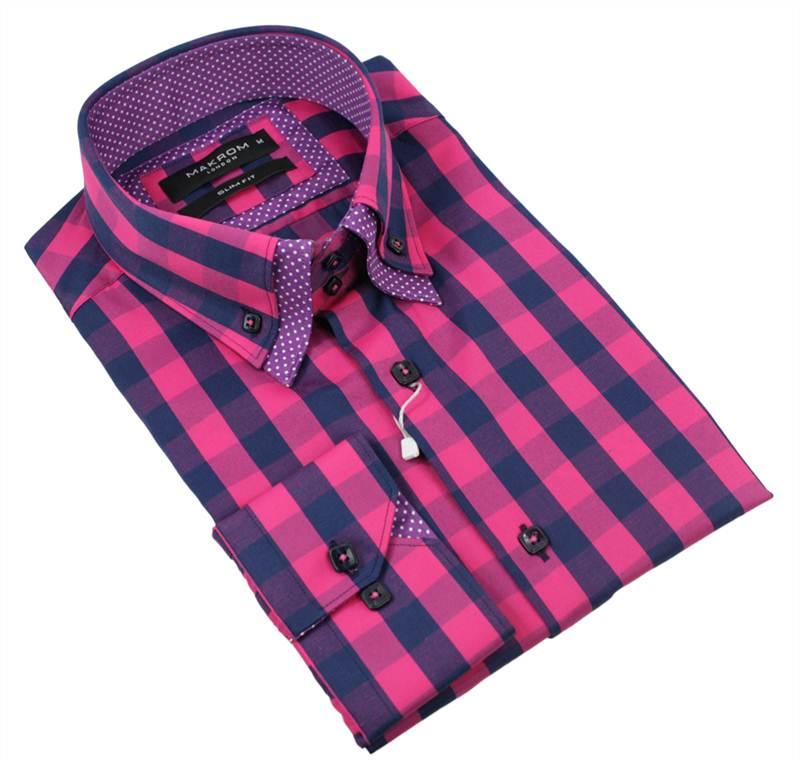Mens Italian Button Double Collar Shirt Pink Blue Check