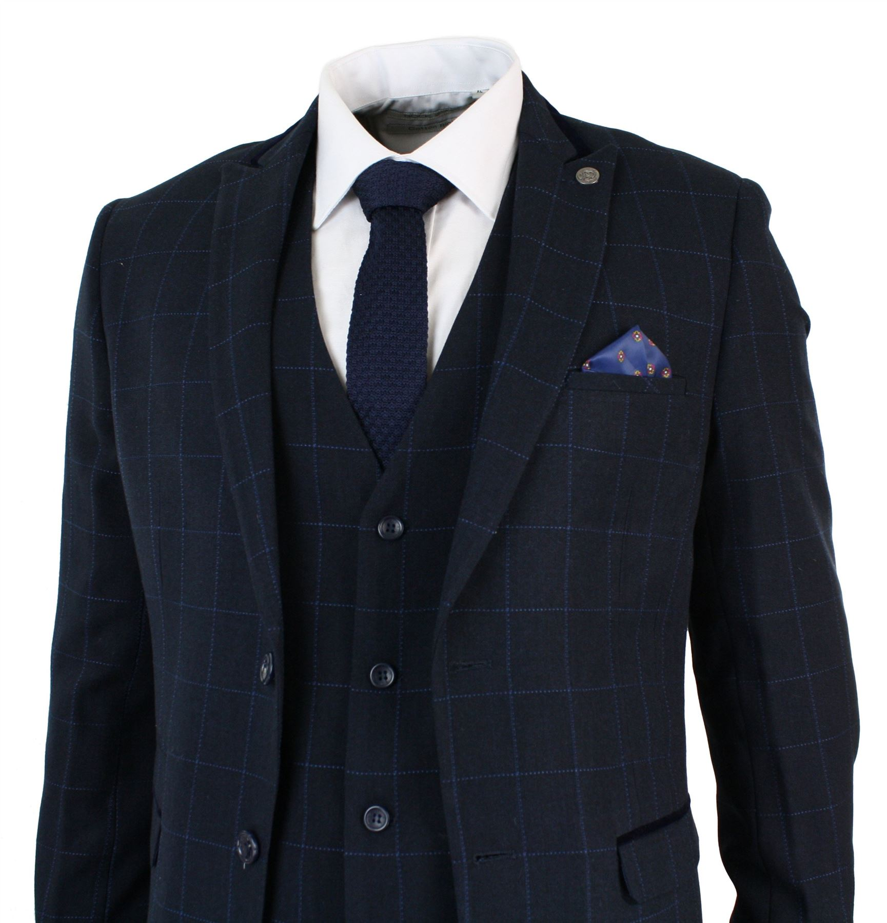 2ce9b5246a6 Mens Navy Blue Check Classic Tailored Fit Retro Check 3 Piece Smart ...