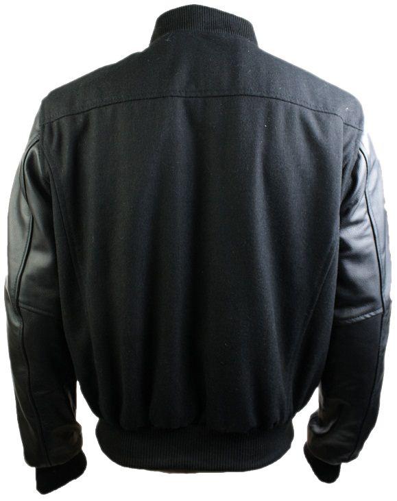 Mens Black College Varsity Baseball Jacket Real Leather Sleeves ...