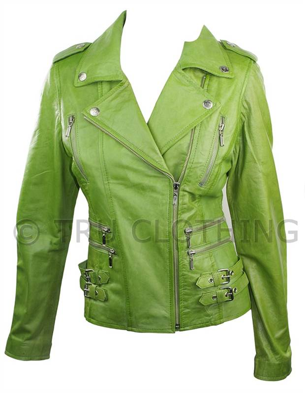 100% Ladies Real Leather Jacket Short Fitted Bikers Style Retro ...
