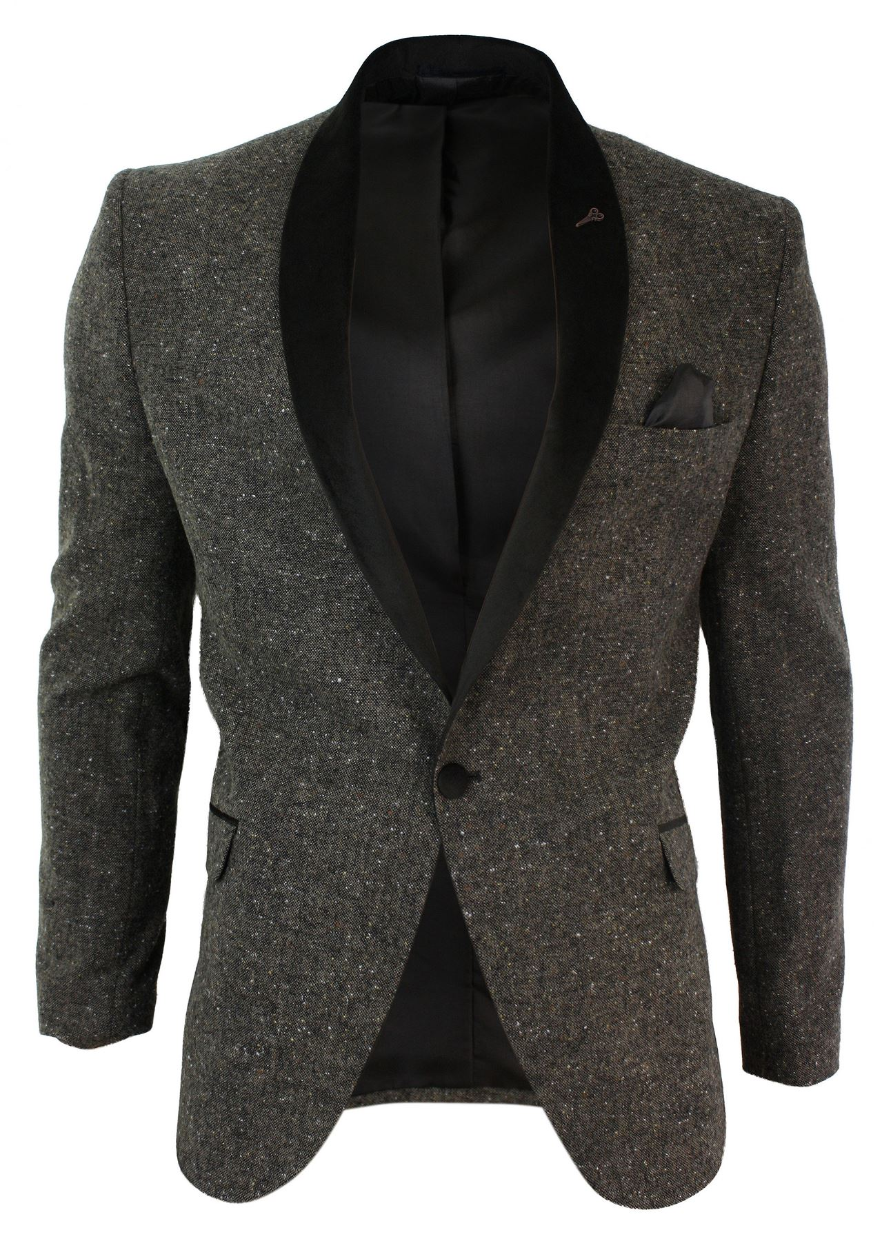 Blazer hommes tweed marron 1 bouton revers velours noir - Blazer homme marron ...