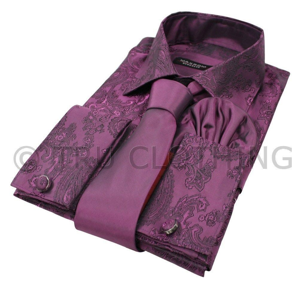 chemise cachemire homme cravate soie satin boutons manch mouchoir 13couleur ebay. Black Bedroom Furniture Sets. Home Design Ideas