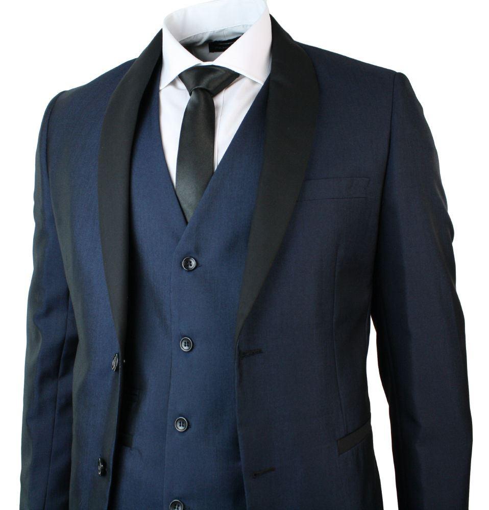 costume de soire 3 pices homme col chle rond bleu noir mariage fte bal promo - Costume Homme 3 Pieces Mariage