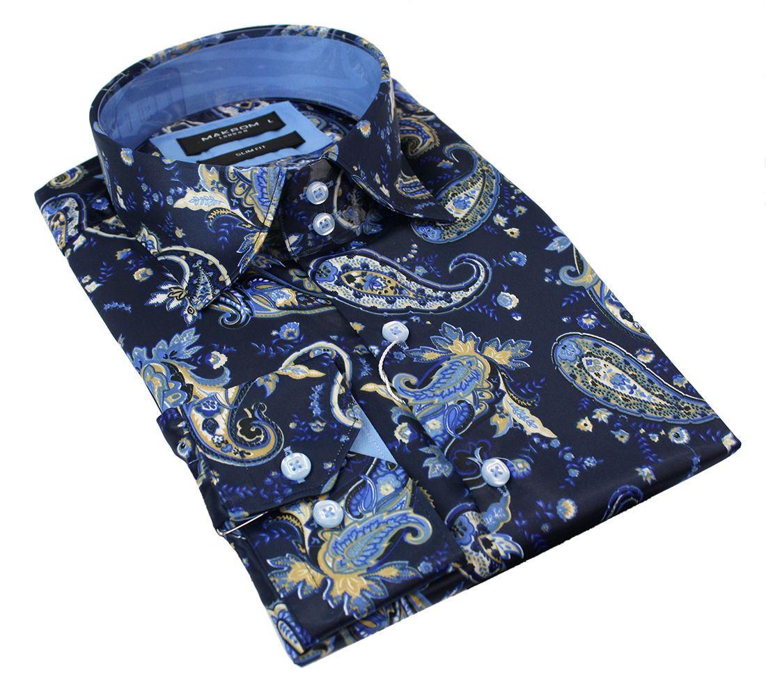 chemise boutons homme cachemire soie satin motif noir bleu italien relax habill ebay. Black Bedroom Furniture Sets. Home Design Ideas