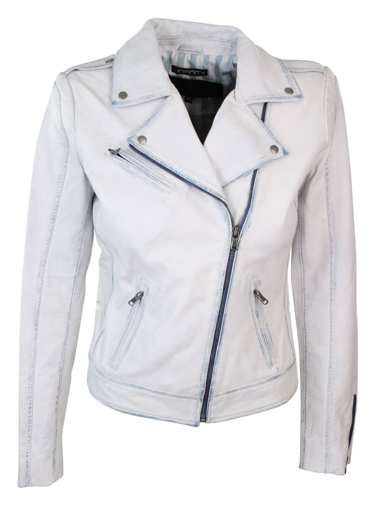 Womens Ladies Girls Soft White Real Leather Short Biker ...