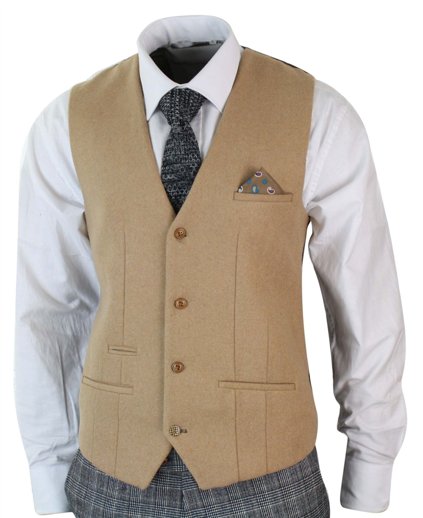 mens grey check herringbone tweed vintage 3 piece tailored fit suit oak brown. Black Bedroom Furniture Sets. Home Design Ideas