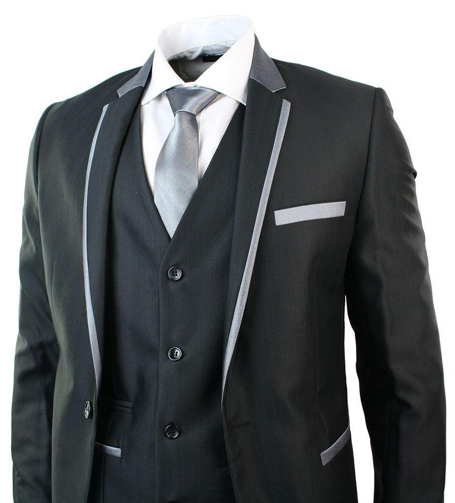 costume homme brillant noir 3 pices gris bordure ajust soire mariage 1 bouton - Pierre Cardin Costume Mariage