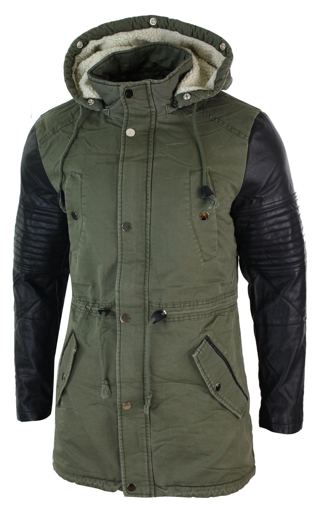 Mens Fishtail Parka Duffle Jacket Denim Pu Leather Fur