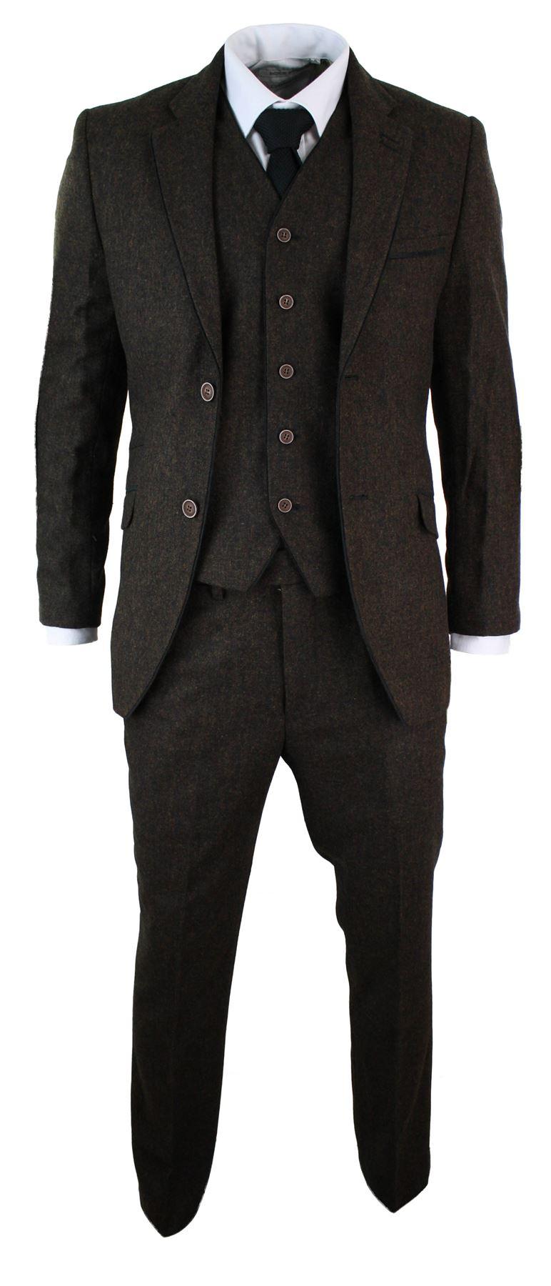mens herringbone tweed 3 piece suit vintage tailored fit. Black Bedroom Furniture Sets. Home Design Ideas