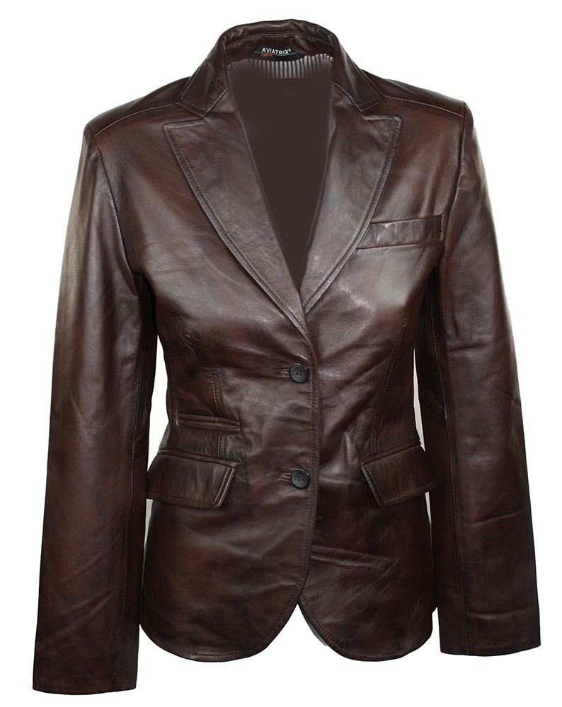 blazer femme cuir marron. Black Bedroom Furniture Sets. Home Design Ideas