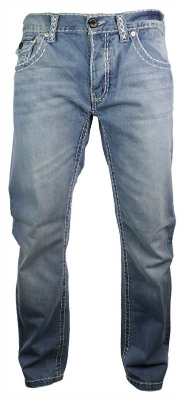 Mens Blue Stitch Work Washed Funky Pocket Jeans Straight Cut Smart Casual