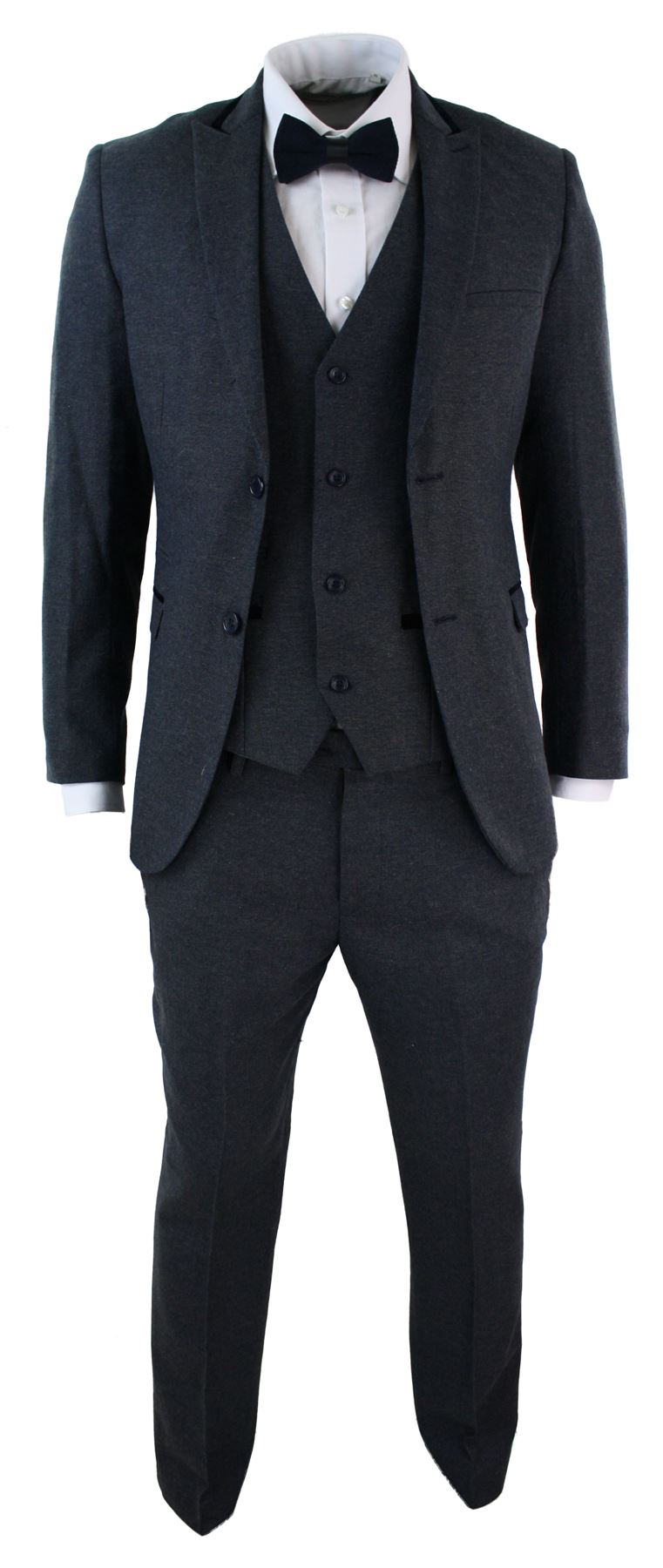 costume 3 pi ces hommes tweed herringbone bleu fonc coupe slim ebay. Black Bedroom Furniture Sets. Home Design Ideas