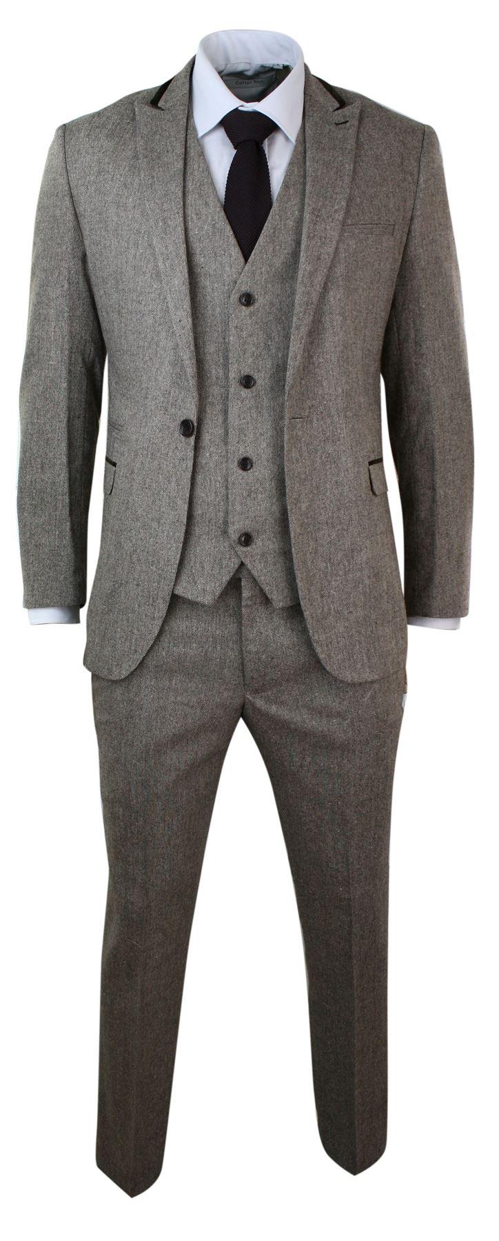 costume 3 pi ces hommes tweed herringbone coupe slim design l gant ebay. Black Bedroom Furniture Sets. Home Design Ideas