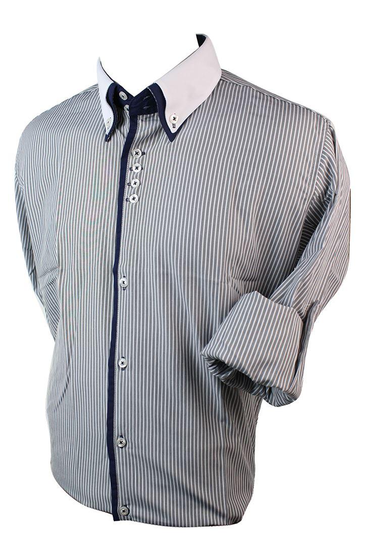 Mens slim fit double button collar shirt stripe cotton for Mens slim white shirt