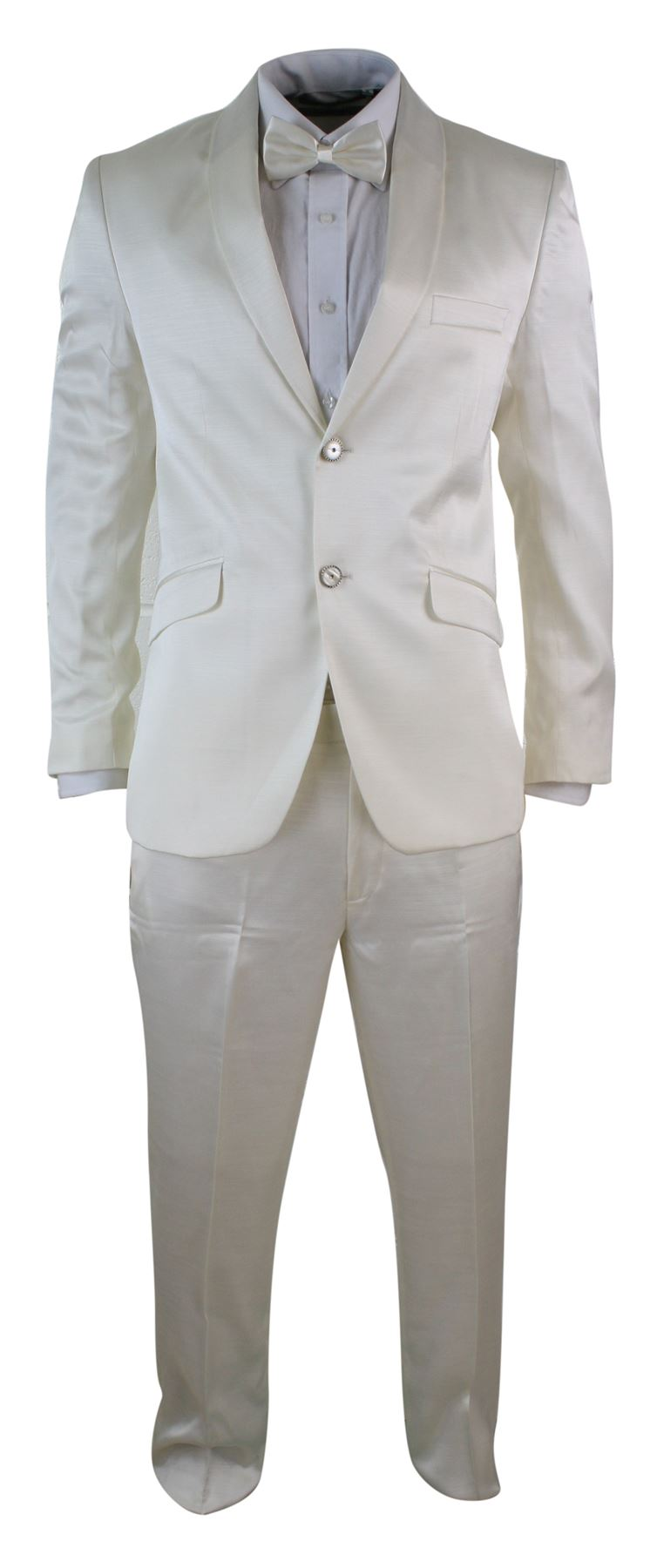 A tuxedo (American English), or dinner jacket (British English), is a semi-formal two or three piece suit for evening wear, distinguished primarily by satin or grosgrain jacket's lapels, and similar stripes along the outseam of the trousers.
