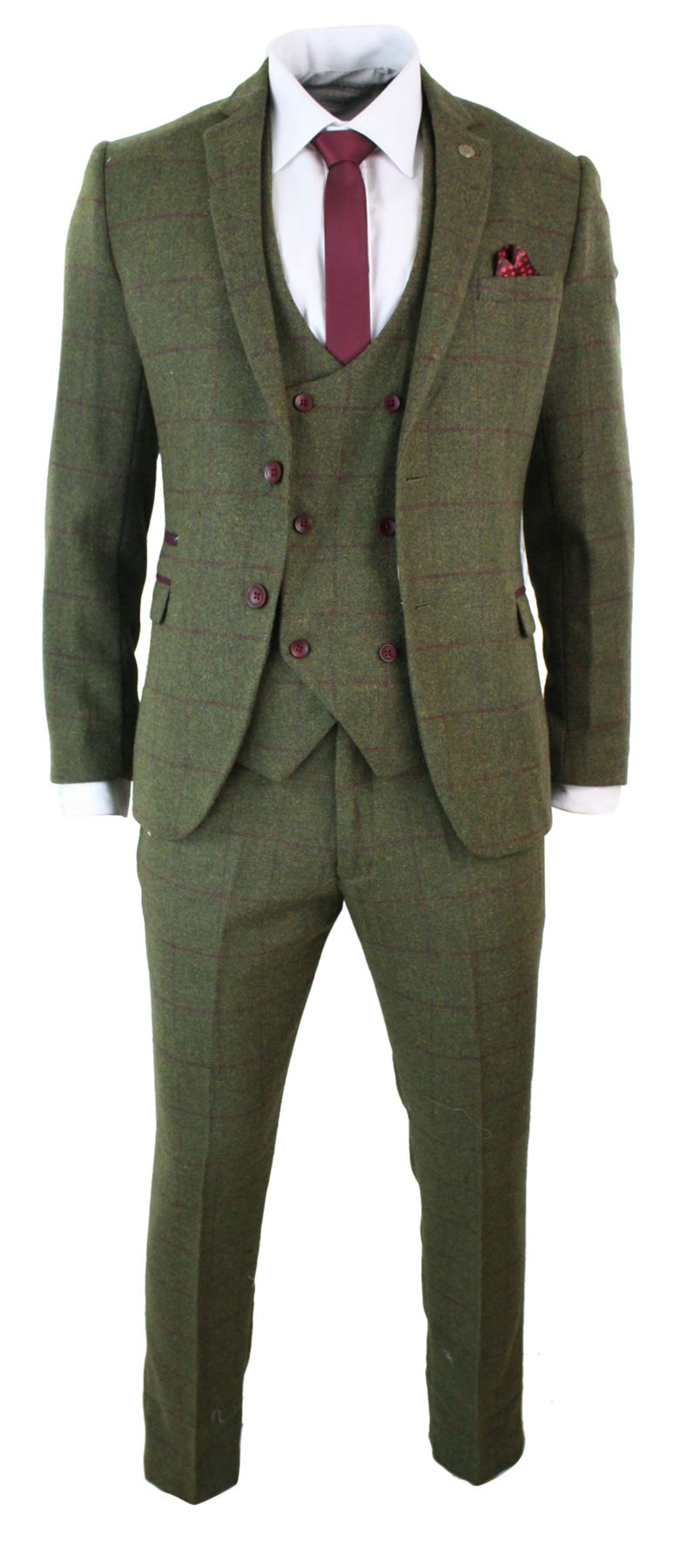 Suits also come with different numbers of pieces: a two-piece suit has a jacket and the trousers; a three-piece adds a waistcoat (known as a vest in North America); A wide range of colour is available, including muted shades of green, brown, red, and grey.
