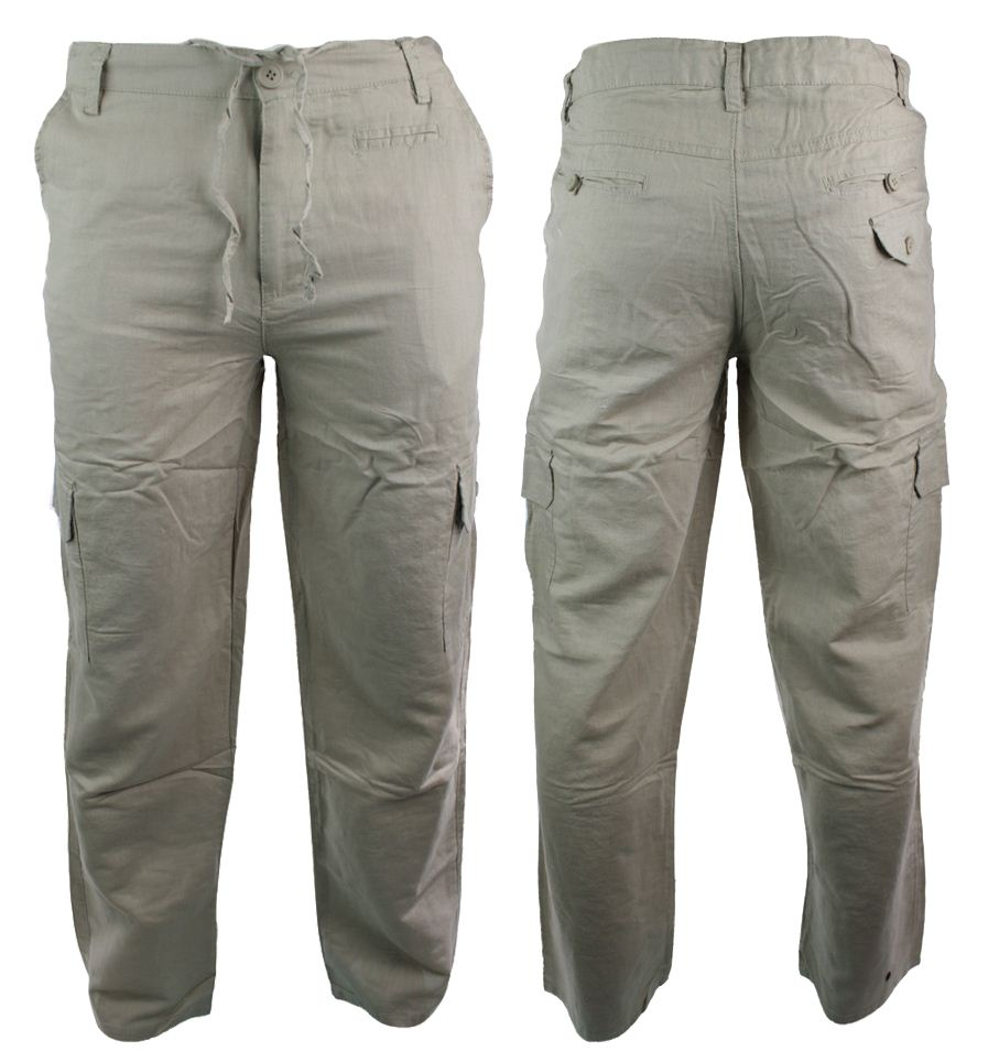 Men's Linen-Look Cargo-Pocket Pants by John Blair, Blue, Size 2XL S Pants by John Blair. Comes in Navy, Size 2XL S. Drawstring waist with back-elastic, two front, two button-through back and two side cargo pockets with Stik-Tite closures.