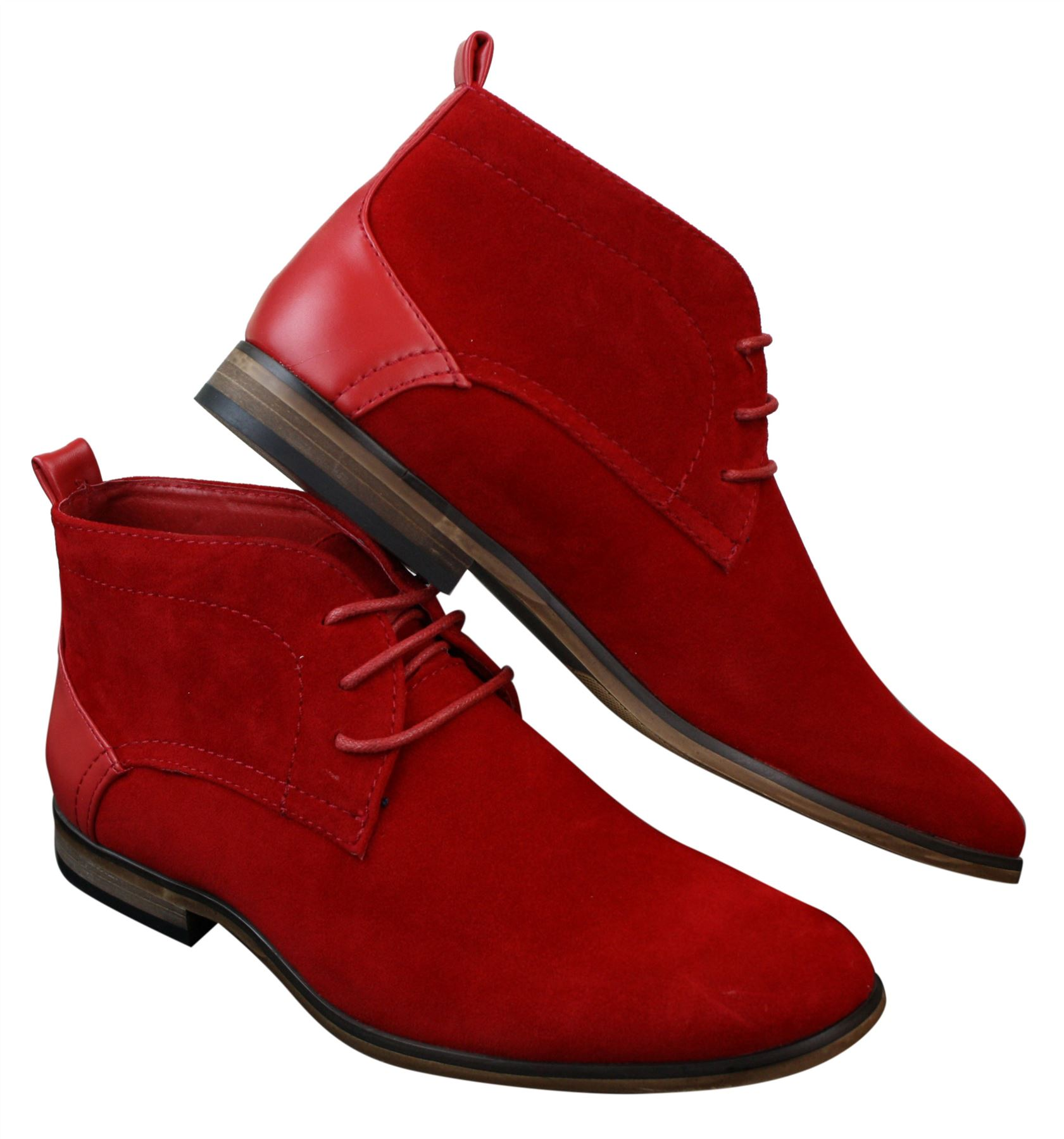 Mens Suede Desert Ankle Red Grey Brown Blue Boots Shoes Smart Laced