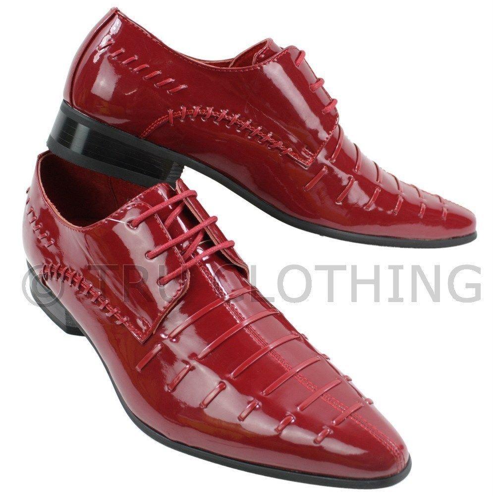chaussures relax cuir italien noir rouge brillant verni design homme lacets ebay. Black Bedroom Furniture Sets. Home Design Ideas