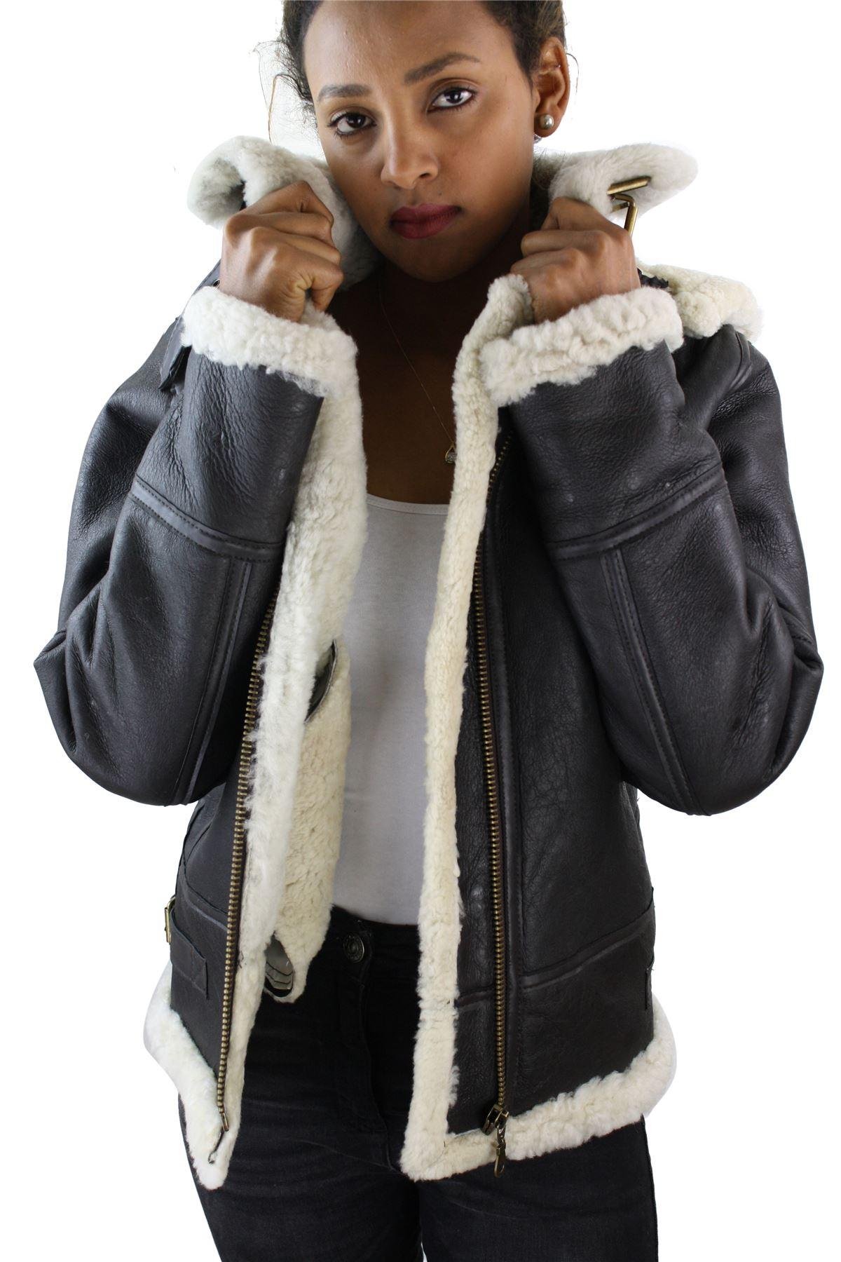 Ladies aviator white brown women s hooded shearling sheepskin leather
