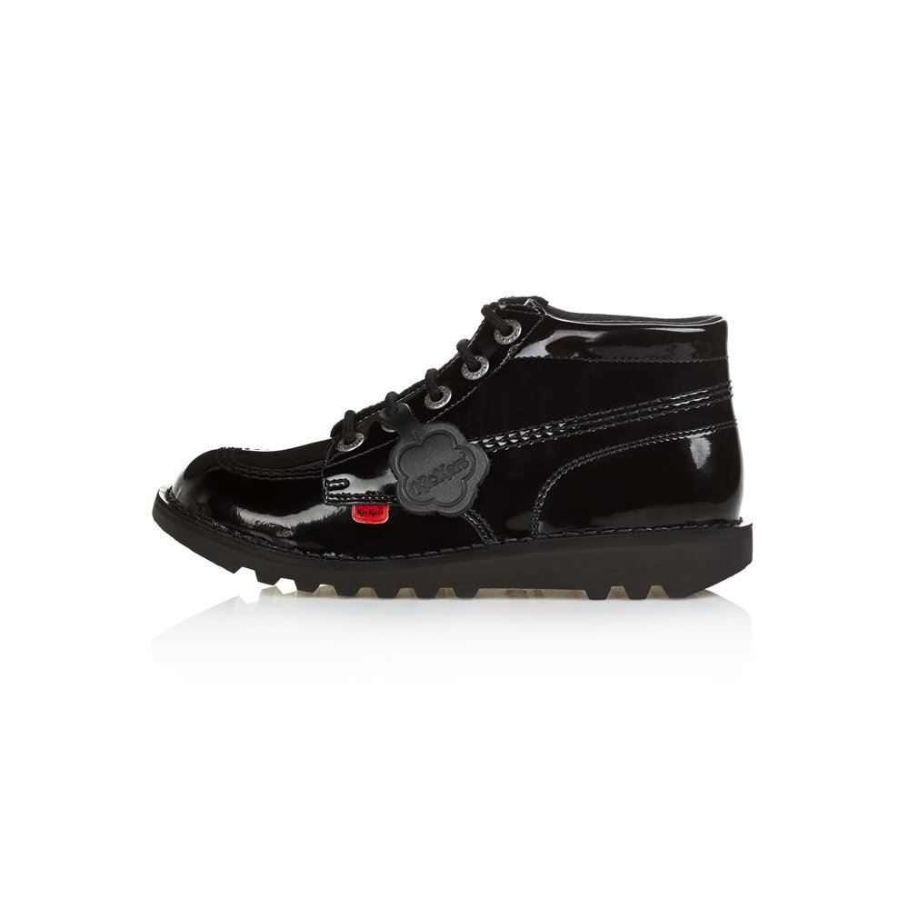 Kickers Classic Hi Black & Patent Boots Mens Women's & Youth School Work UK 3-12