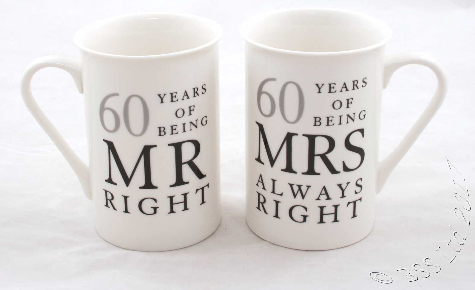 40th Wedding Anniversary Gifts For Friends: Wedding Anniversary Gift Set, Mr/Mrs Right Mugs 10th 25th