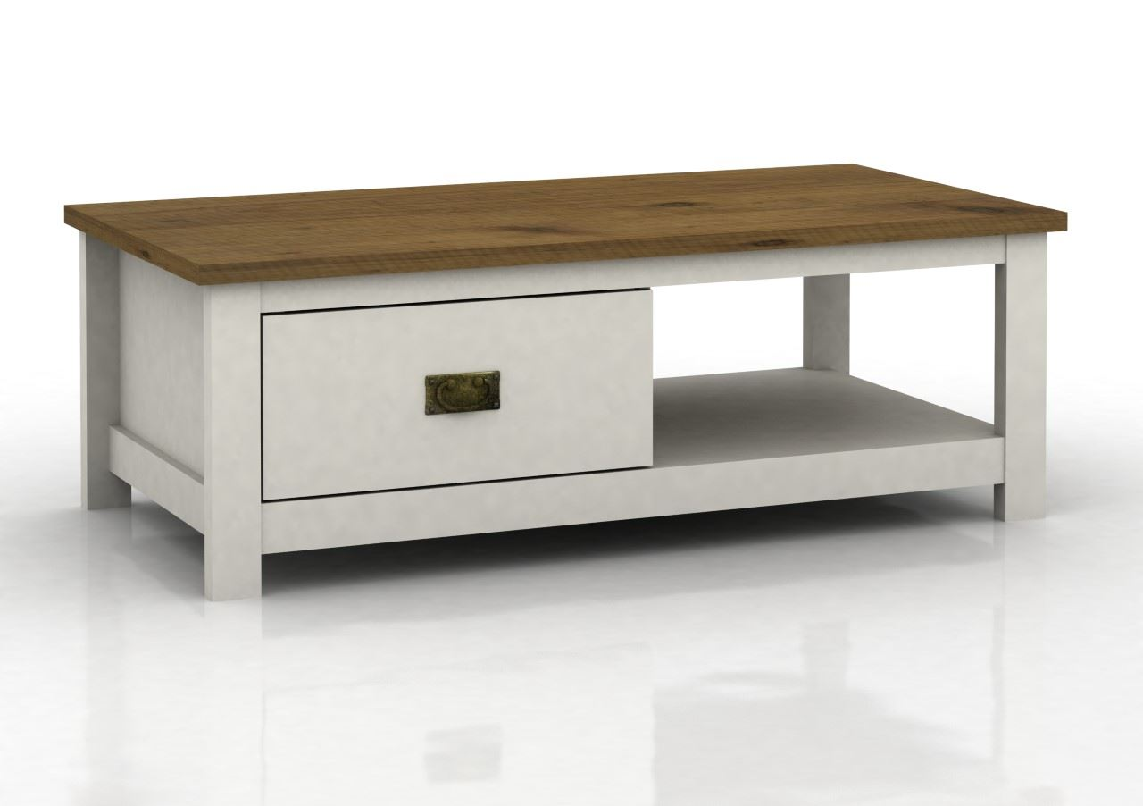 Painted White Coffee Table With One Drawer And Shelf Oak Finish Ebay